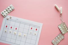 Owulacyjny cykl, poj?cie Kalendarz dla miesi?ca, markier jajeczkowanie i menstrual cykl, zdjęcie royalty free