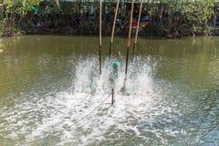 Oxígeno del terraplén del aerador en el agua Foto de archivo libre de regalías