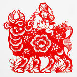 Ox. These paper cutting show that Chinese Zodiac, such as rat, ox, tiger Stock Images