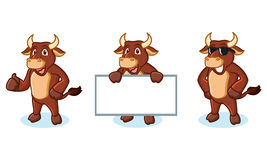 Ox Brown Mascot happy Royalty Free Stock Photo