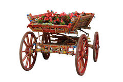 Ox Cart with Flowers Royalty Free Stock Photos