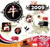 Ox design elements. Set of asian design elements. 2009 is the Year of the Ox according to the Chinese Zodiac. Fully editable vector format Stock Photography