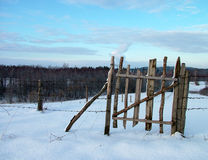 Ox-fence. In winter stock photography