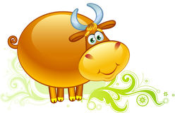 Ox on a field. Cartoon bull and green ornament royalty free illustration