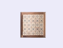 OX game , made by wooden block Royalty Free Stock Photography