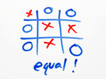 OX Game on whiteboard with equal result Royalty Free Stock Image