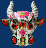 Ox mask. Chinese folk artwork - colored drawing Royalty Free Stock Photo