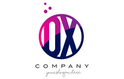OX O X Circle Letter Logo Design with Purple Dots Bubbles Royalty Free Stock Photography