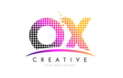 OX O X Letter Logo Design with Magenta Dots and Swoosh Royalty Free Stock Image