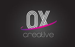 OX O X Letter Logo with Lines Design And Purple Swoosh. Stock Photo