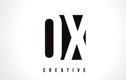 OX O X White Letter Logo Design with Black Square. Stock Photography