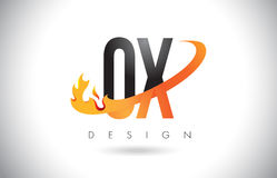 OX O X Letter Logo with Fire Flames Design and Orange Swoosh. Stock Image