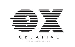 OX O X Zebra Letter Logo Design with Black and White Stripes Stock Images