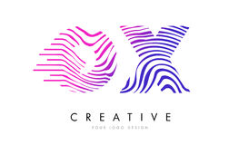 OX O X Zebra Lines Letter Logo Design with Magenta Colors Royalty Free Stock Photo