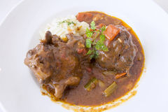 Ox Tail Stew with Mashed Potatoes. Ox Tail Beef Stew with Mashed Potatoes Closeup Stock Photography