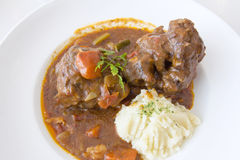 Ox Tail Stew with Mashed Potatoes Closeup Stock Photo