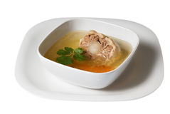 Ox tail soup in white square bowl Royalty Free Stock Image
