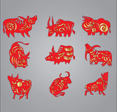 Ox year 2009 cow pattern. Vector illustration of Chinese new year - Horoscope of red and golden Cow pattern Stock Photography