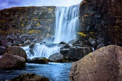 Oxarafoss waterfall in Iceland stock photos