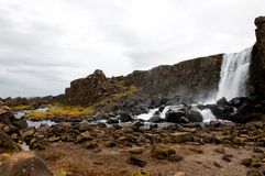 Oxarafoss waterfall, Thingvellir national park, Iceland Royalty Free Stock Image