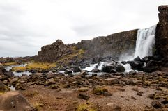 Oxarafoss waterfall, Thingvellir national park, Iceland Royalty Free Stock Images