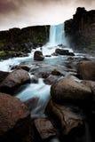 Oxararfoss瀑布在Thingvellir国家公园,冰岛 库存照片