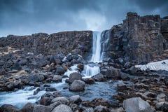 Oxararfoss Ã-xarà ¡ rfoss i nationaal Thingvellir parkerar royaltyfria bilder