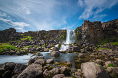 Oxararfoss at Pingvellir National Park in Iceland stock photos