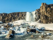 Oxararfoss waterfall in winter of Iceland. Oxararfoss, the strong waterfall in Thingvellir national park, in winter season with ice and snow in water, surrounded Royalty Free Stock Photo