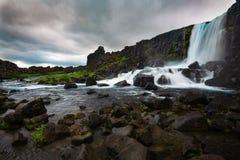 Oxararfoss-Wasserfall in Nationalpark Thingvellir, Island Stockbild