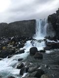 Oxararfoss waterfall on the golden circle tourist route in Iceland stock photography