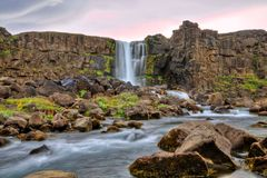 Oxararfoss waterfall in HDR, Iceland. Europe stock images