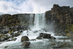 Oxararfoss waterfall, Iceland Royalty Free Stock Images