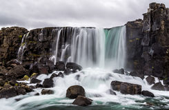 Oxararfoss waterfall in Pingvellir national park in Iceland Stock Images