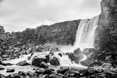 Oxararfoss waterfall in Pingvellir or Thingvellir National Park Stock Image