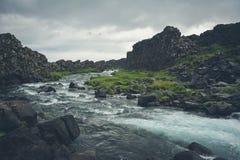 Oxararfoss waterfall in Pingvellir or Thingvellir National Park Royalty Free Stock Photos