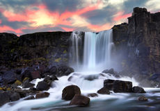 Oxararfoss waterfall Royalty Free Stock Photos