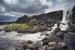 Oxararfoss waterfall in Thingvellir, Iceland Royalty Free Stock Images