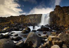 Oxararfoss. Waterfall in Thingvellir National Park in Iceland Royalty Free Stock Photo
