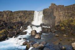 Oxararfoss waterfall. In Thingvellir national park in Iceland Stock Photos
