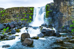 Oxararfoss waterfall at Thingvellir National park. In Iceland Royalty Free Stock Photos