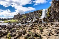 Oxararfoss waterfall, Thingvellir National Park, Iceland. Beautiful Oxararfoss waterfall in summer, Thingvellir National Park, Iceland, selective focus Royalty Free Stock Photo