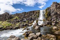 Oxararfoss waterfall, Thingvellir National Park, Iceland. Beautiful Oxararfoss waterfall in summer, Thingvellir National Park, Iceland, selective focus Royalty Free Stock Photography