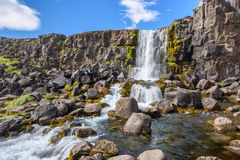 Oxararfoss waterfall, Thingvellir National Park, Iceland Royalty Free Stock Image