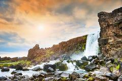 Oxararfoss waterfall in Thingvellir national park, Iceland Royalty Free Stock Photos
