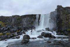 Oxararfoss Waterfall in Thingvellir National Park, Iceland. Oxararfoss Waterfall in Thingvellir National Park, Southwestern Iceland Stock Photo