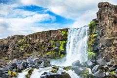 Oxararfoss waterfall in Thingvellir national park, Iceland Royalty Free Stock Photo