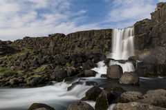 Oxararfoss waterfall in Thingvellir National park in Iceland wit Royalty Free Stock Images