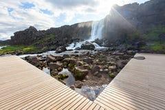 Oxararfoss waterfall in Thingvellir national park.  Stock Images