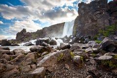 Oxararfoss waterfall in Thingvellir national park.  Royalty Free Stock Photos